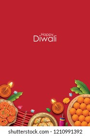 Happy Diwali. Hindu festival. modern elements. Sweets.  Diwali festival holiday. Vector illustration. Diya.