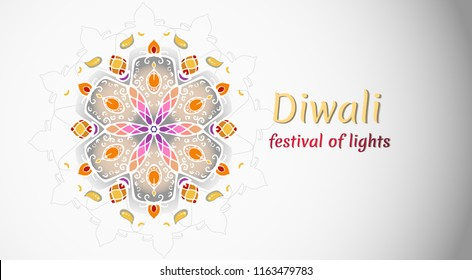 Happy Diwali holiday, festival of lights. Beautiful ornament with lamps and flowers on light background