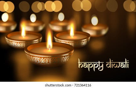 Happy Diwali holiday greeting card template of gold candle light flame in golden premium bowl with Indian Diwali Sanskrit lettering text ornament. Vector background for Hindu lights festival.