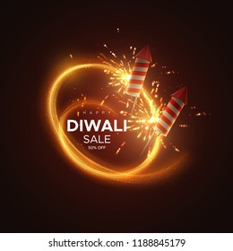 Happy Diwali. Holiday vector illustration of hindu religion event Deepavali. Festive light banner with sparkling fireworks and crackers. Ads poster template design. Sale promotional banner