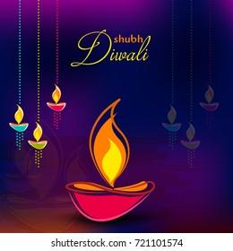 Happy Diwali Illustration, Flyer Design for Diwali festival.