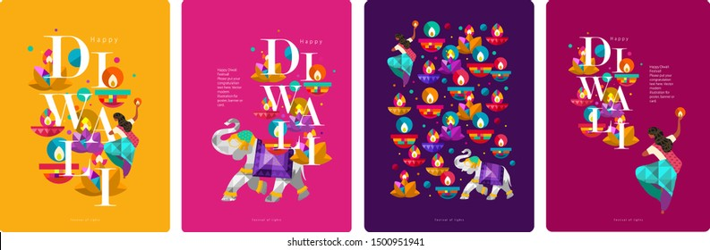 Happy Diwali. Indian festival of lights. Vector abstract flat illustration for the holiday, lights, elephant, Indian woman and other objects for background or poster.
