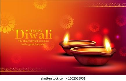 Happy Diwali indian festival the festival of lights , Deepavali, Dipavali