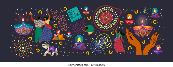 Happy Diwali. Indian festival of lights. Vector abstract flat illustration for the holiday, lights, hands, Indian people, woman and other objects for background or poster.