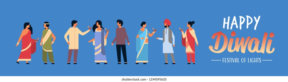 happy diwali indian people group wearing national traditional clothes holding oil lamp hindu man woman celebration concept cartoon character horizontal flat full length copy space vector illustration.