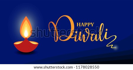Happy Diwali lettering wallpaper design template. illustration of burning Diwali diya (oil lamp)
