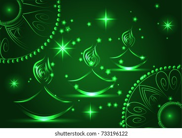 Happy Diwali. Light background. Three Lampadas, an oil lamp with a burning fire on an emerald brown background