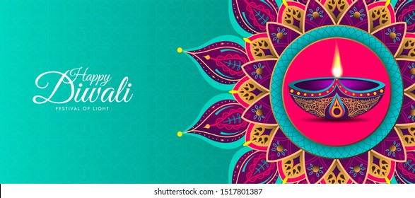 Happy Diwali. Light green background with diwali flower elements and mandala vectors
