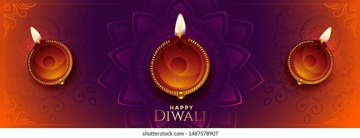 happy diwali long banner with beautiful colors and diya