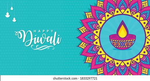 Happy diwali with mandala colorful vector banner