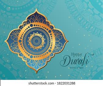 Happy diwali mandala in frame on blue background design, Festival of lights theme Vector illustration