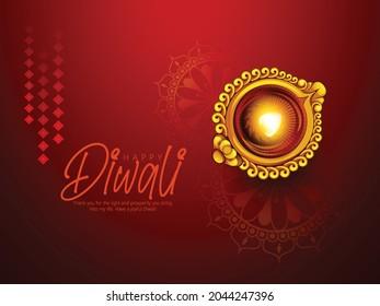 Happy Diwali with Oil lamp, Decorated Diya, Rangoli, Background, Bokeh Sparkling Effect