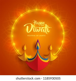 Happy Diwali. Paper Graphic of Indian Diya Oil Lamp Design. Indian festival of lights.