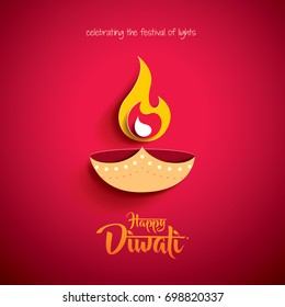 Happy Diwali. Paper Graphic of Indian Diya Oil Lamp Design. The Festival of Lights.