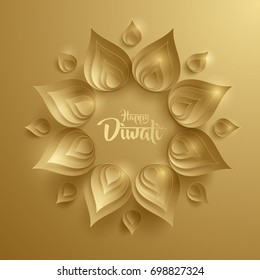 Happy Diwali. Paper Graphic of Indian Rangoli. Rangoli - A traditional Indian art of decorating the entrance to a house.