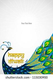 happy diwali peacock frame