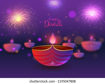 Happy Diwali poster or greeting card design with illustration of illuminated oil lamp on blurred purple background.