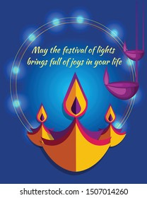 Happy Diwali poster, header, banner or greeting card design with illustration of illuminated oil lamp, diwali dhamaka sale on blurred background.
