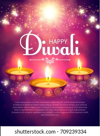 Happy Diwali Poster Template. Traditional Indian Festival Background with Burning Lamps, Stars, Bokeh and Light Effects. Shining Diya. Vector illustration