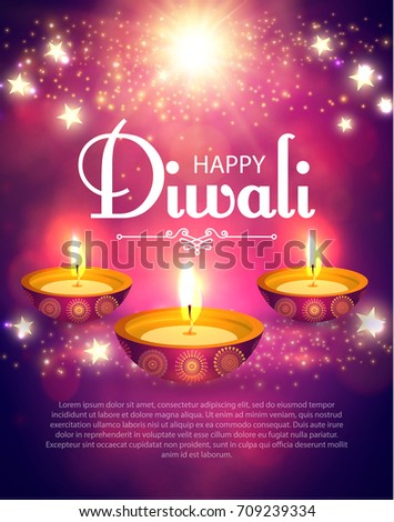 Happy Diwali Poster Template Traditional Indian Stock Vector