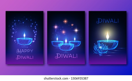 Happy diwali posters template set with futuristic glowing low polygonal oil lamp diya, lotus flower, stars and text on dark blue to purple background. Modern wireframe design vector illustration.