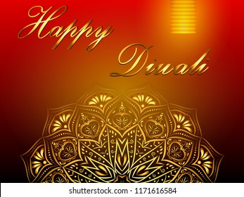 Happy Diwali red background, hindu festival of lights, with golden mandala and paper lantern. Vector eps 10.