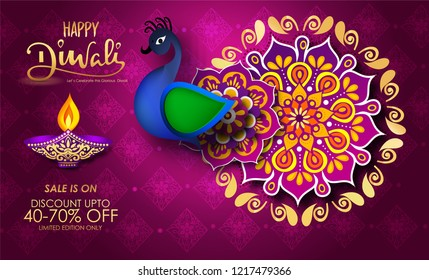 happy diwali sale banner and poster with diya and peacock with mandala and calligraphy on sale text.