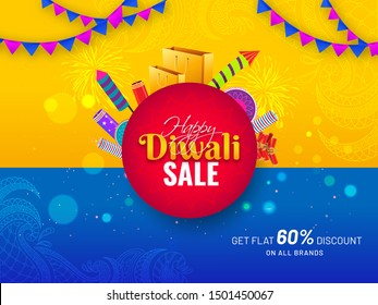 Happy Diwali Sale banner or poster design with firecrackers, shopping bag and 60% discount offer on yellow and blue lighting effect floral background.