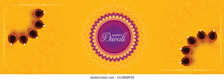 Happy Diwali social media promotional banner with illuminated oil lamps on floral design decorated yellow background.