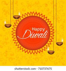 Happy Diwali text design. Abstract vector illustration