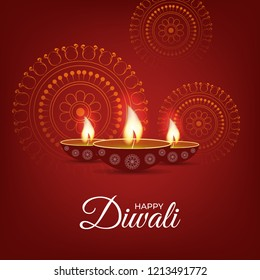 Happy diwali traditional background and wallpaper design with lighting diya.