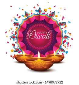 Happy Diwali. Traditional Indian Festival Background with Burning Lamps and Fireworks. Vector illustration
