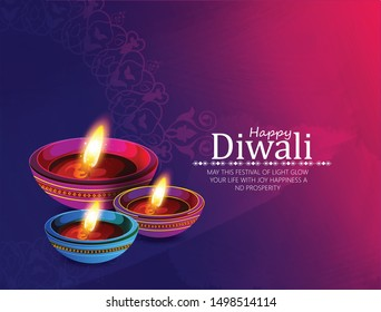 Happy Diwali. Traditional Indian Festival Background with Burning Lamps