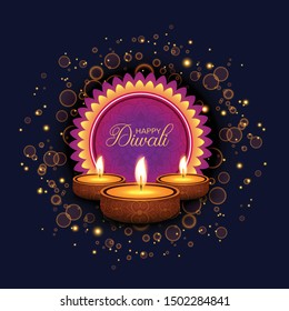 Happy Diwali. Traditional Indian Festival Background with Burning Lamps, Bokeh and Light Effects. Shining Diya. Vector illustration