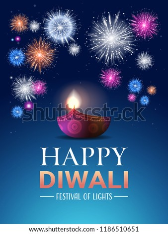 happy diwali traditional indian lights hindu festival celebration holiday concept flat greeting card template invitation vertical
