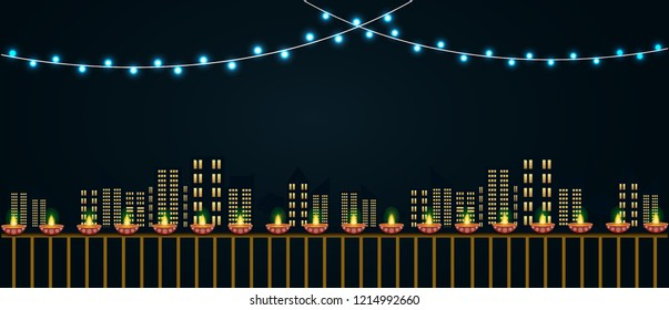 Happy diwali urban city illustration with lights and diyas. Diwali Banner city design illustration.