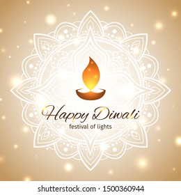 Happy diwali vector illustration. Festive diwali card. Design template with light festive golden background. Shining background with mandala and lights. Vector holiday illustration