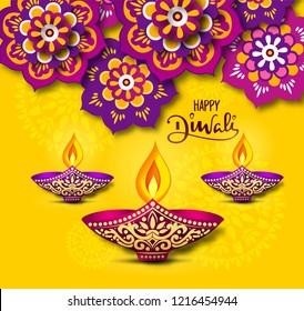 happy diwali vector illustration with rangoli flowral mandala design with diya and happy diwali calligraphy on Yellow background.