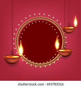 Happy Diwali, Vector Illustration, Easy to Edit, Hanging Shiny Diyas, Frame Design, Hindu Festival.