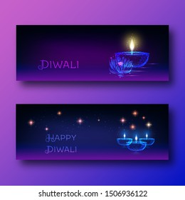 Happy diwali web banners template set with futuristic glowing low polygonal oil lamp diya, lotus flower and text on dark blue to purple background. Modern wireframe design vector illustration.