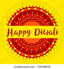 Happy Diwali & Diwali Wishes With Rangoli Ornament Illustration Greeting Card Background.