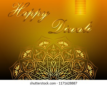 Happy Diwali yellow background, hindu festival of lights, with golden mandala and paper lantern. Vector eps 10.