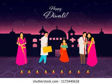 Happy Diwali.Happy Diwali. Traditional Indian Festival. Diwali festival of India with gifts in vector