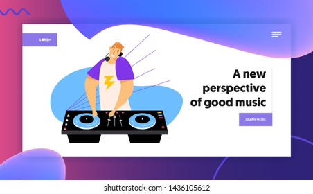 Happy Dj Man in Headphones Put Hands on Equipment Deck and Mixer with Vinyl Record, Night Club Party, Disco Music Entertainment Website Landing Page, Web Page. Cartoon Flat Vector Illustration, Banner