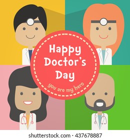 Happy Doctors Day Card surgical scrubs, notes, smile, cute, male doctor, female doctor, doctor vector, doctor cartoon,
