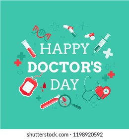 Happy doctor's day. Cute vector card with lettering and medical icons. Healthcare.