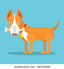 Happy dog with big white bone. Vector flat illustration