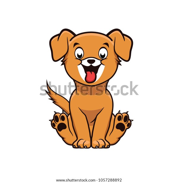 Happy Dog Cartoon Illsutration Sitting Which Stock Vector Royalty Free 1057288892
