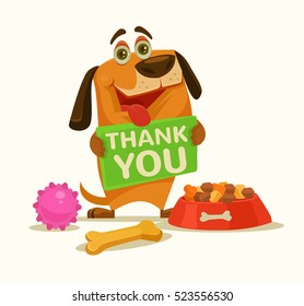 Happy dog character hold plate with thank you words. Vector flat cartoon illustration