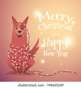 Happy dog with a Christmas garland. congratulations on a new year of christmas. The dog is a symbol of 2018.